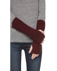 White + Warren - Red Cashmere Plush Rib Arm Warmers - Lyst