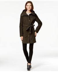 Michael Kors | Green Michael Faux-leather-trim Quilted-sleeve Belted Trench Coat | Lyst