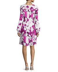 Oscar de la Renta - Multicolor Watercolor-print Fit-&-flare Dress - Lyst