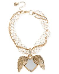 Betsey Johnson | Metallic Gold-tone Faux-pearl Winged Heart Drama Necklace | Lyst