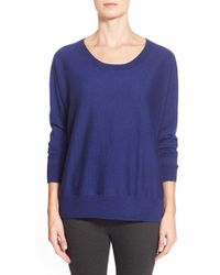 Eileen Fisher | Blue Ballet Neck Merino Sweater | Lyst
