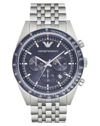 Emporio Armani | Blue Chronograph Bracelet Watch for Men | Lyst