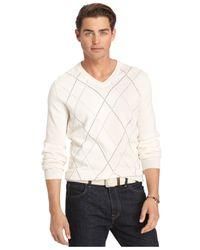 Izod | Natural Argyle V-neck Sweater for Men | Lyst