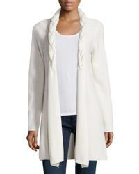 Neiman Marcus | White Reverse Braided Cashmere Cardigan | Lyst