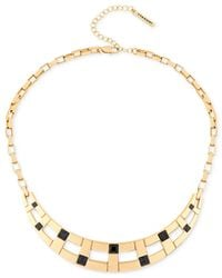 T Tahari - Metallic Gold-tone Jet Crystal Collar Necklace - Lyst