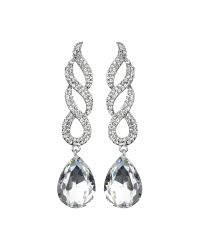 Mikey - White Twisted Dsgn + Drop Crystal Earring - Lyst