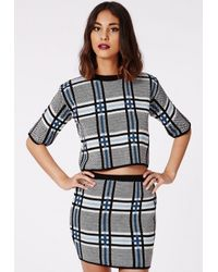 Missguided - Malka Knitted Check Shorty Jumper Blue - Lyst