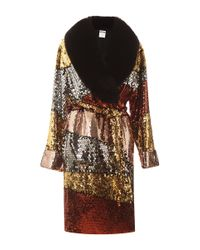 Moschino | Multicolor Colorblock Sequins Coat With Fur Collar | Lyst
