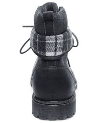 Steve Madden | Black Madden Neptun Plaid Collar Boots for Men | Lyst