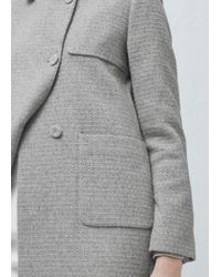 Mango - Gray Textured Coat - Lyst