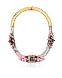 Shourouk | Pink Mamba Rose Crystals And Sequins Necklace | Lyst