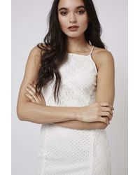 TOPSHOP | Natural Strappy Floral Lace Bodycon Dress | Lyst