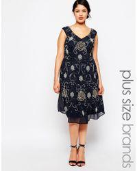 Lovedrobe Luxe - Blue Embellished Bardot Midi Dress - Lyst
