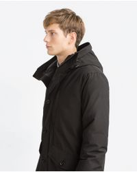 Zara | Black Quilted Three Quarter Length Coat for Men | Lyst