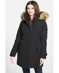 MICHAEL Michael Kors Black 'expedition' Faux Fur Trim Down & Feather Fill Parka