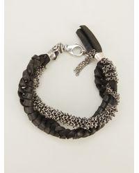 Emanuele Bicocchi | Black Chain and Leather Bracelet | Lyst