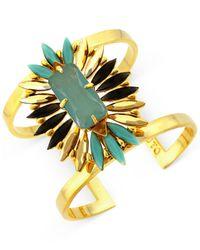 Vince Camuto - Metallic Gold-Tone Stone Cluster Drama Cuff Bracelet - Lyst