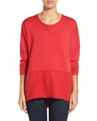 Bobeau | Red Colorblock Sweatshirt | Lyst