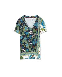 Tory Burch - Multicolor Printed Cotton Jersey V-neck T-shirt - Lyst