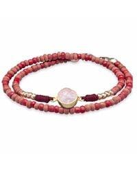 Platadepalo | Red Trend Dark Pink Resin And Crystal Bracelet | Lyst