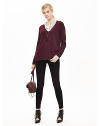 Banana Republic - Red Elbow-patch Vee Pullover - Lyst