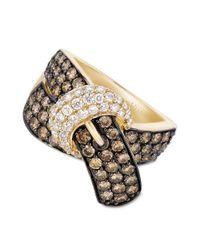Le Vian - Metallic 14k Gold Chocolate Diamond 216 Ct Tw and White Diamond 38 Ct Tw Buckle Ring - Lyst