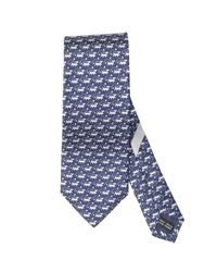 Ferragamo | Blue Dog On A Leash Printed Tie for Men | Lyst