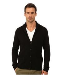 John Varvatos - Black Waffle Stitch Shawl Collar Cardigan Y1225r3l for Men - Lyst