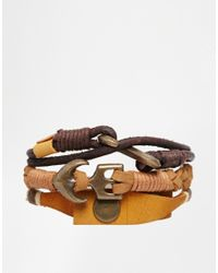 ASOS - Brown Leather Bracelet Pack for Men - Lyst