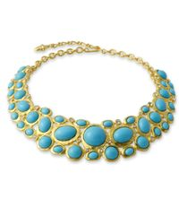 Kenneth Jay Lane | Metallic Satin Gold Collar Necklace With Turquoise Cabochons | Lyst