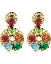 BVLGARI | Concentrica Colour 18Ct Yellow-Gold, Gem Stone And Diamond Earrings - For Women | Lyst