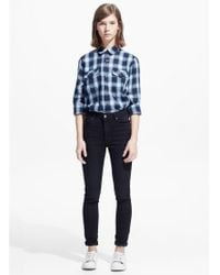 Mango - Blue Check Cotton Shirt - Lyst