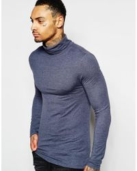 d1e4d081 ASOS Extreme Muscle Fit Long Sleeve T-shirt With Roll Neck in Blue ...