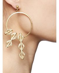 Ela Stone - Metallic Paloma Geometric Charm Hoop Earrings - Lyst