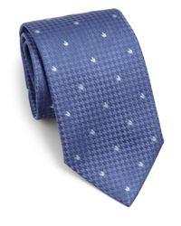 Armani - Blue Herringbone Print Silk Tie for Men - Lyst