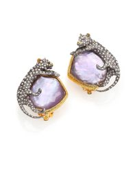 Alexis Bittar - Purple Elements Moonlight Mother-Of-Pearl & Crystal Doublet Panther Clip-On Earrings - Lyst