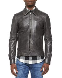 Belstaff - Black Heritage Faded-Leather Jacket - Lyst