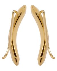 Jennifer Fisher | Metallic Gold-plated Curved Cylinder Earrings | Lyst