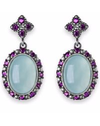 Platadepalo - Multicolor Chalcedony Silver Earrings With Zircon Stones - Lyst