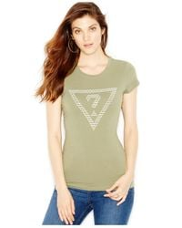 Guess | Green Logo Embellished Tee | Lyst
