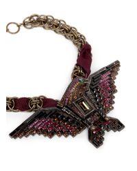 Lanvin - Red Crystal Embellished Eagle Necklace - Lyst