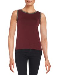Anne Klein | Red Metallic-trimmed Tank | Lyst