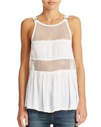 Free People - White Mesh Accented Tank - Lyst
