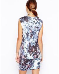 ASOS - Blue Mini Bodycon Dress In Marble Print - Lyst