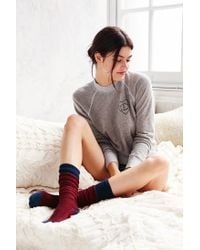 Urban Outfitters - Red Chevron Stitch Colorblock Thigh-high Sock - Lyst
