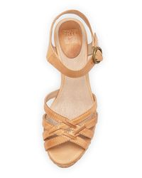 Frye - Natural Carlie 2 Piece Woven Leather Wedge Sandal - Lyst