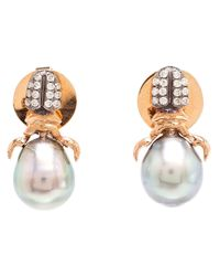 Daniela Villegas | Metallic Diamond & Pearl Stud Earrings | Lyst