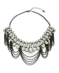 ABS By Allen Schwartz | Black Crystal Hematite Chain Bib Necklace | Lyst