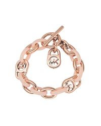 Michael Kors - Pink Heritage Rose Gold-tone And Blush Chain Bracelet - Lyst