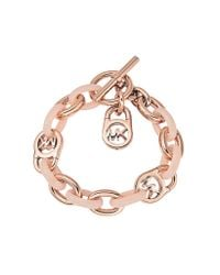 Michael Kors | Pink Heritage Rose Gold-tone And Blush Chain Bracelet | Lyst